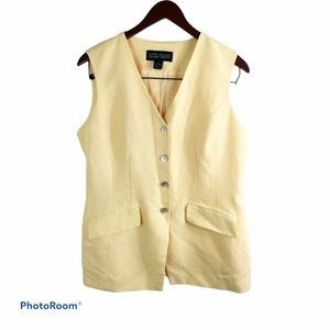 Linda Allard ELLEN TRACY size 12 Yellow Linen Vest